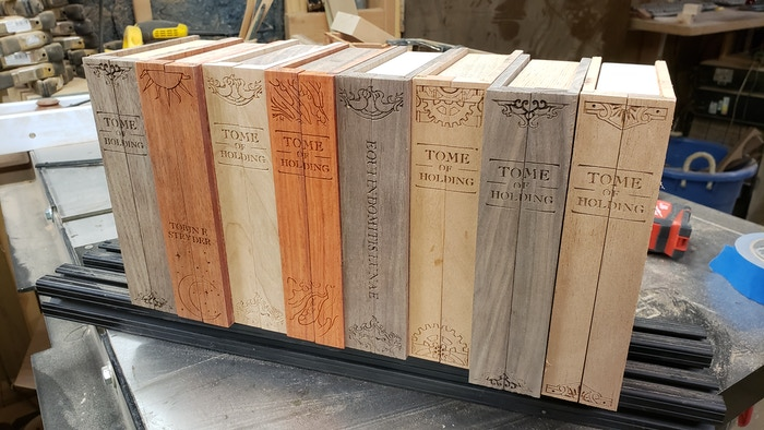 Part of the next batch of tomes patiently waiting for a final sanding.