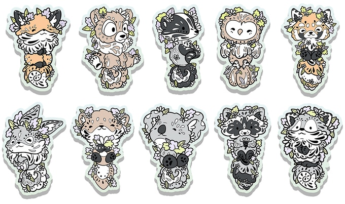 The Once Upon a Woodland single stickers range :)