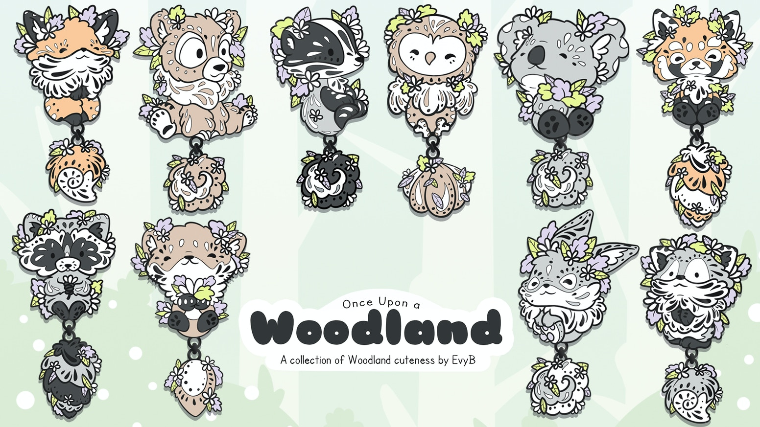 A whimsical collection of whimsical Woodland pins with dangling tails, available in black nickel and gold style plating.