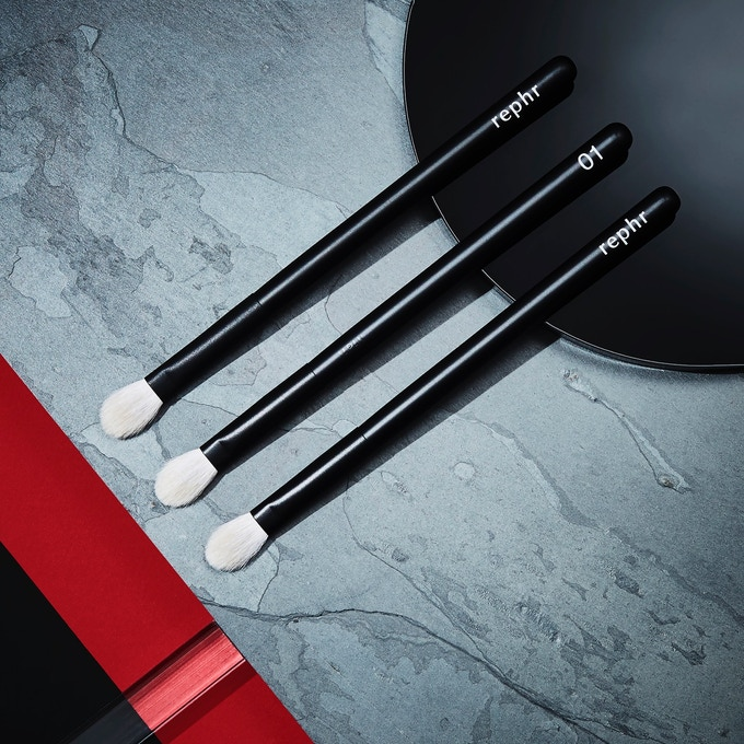brush 01 - a versatile eye brush for applying base colour, crease work, general blending, nose highlight, nose contour, brow highlight, concealer. capable of doing an entire eye look on its own.