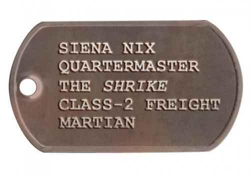 A potential mockup of what the rusty dog tag might look like.