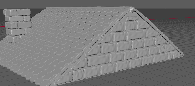 THE SIDE OF THE STONE ROOF IS NOW COMPLETE
