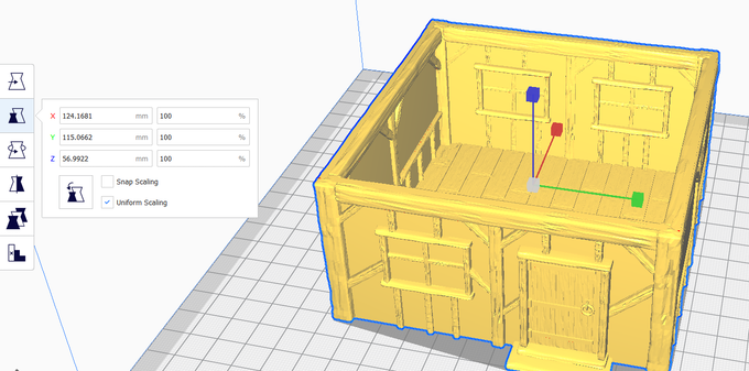 THE FILE LOADED ON CURA. THE HOUSE IS FOR 28MM MINIATURES AT 100% SIZE
