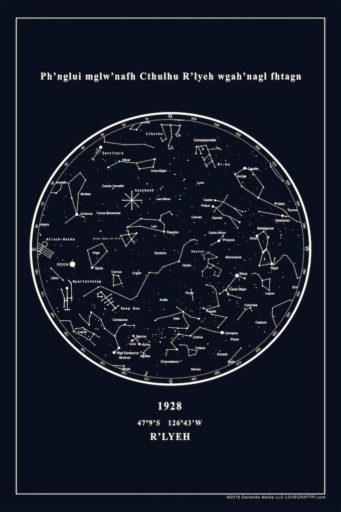 1928 GLOW-IN-THE-DARK  R'lyeh Constellation Map