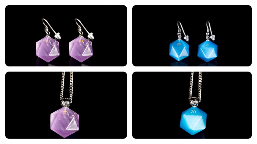 Project image for 12mm Handcrafted Amethyst & Cats Eye Aquamarine Dice Jewelry