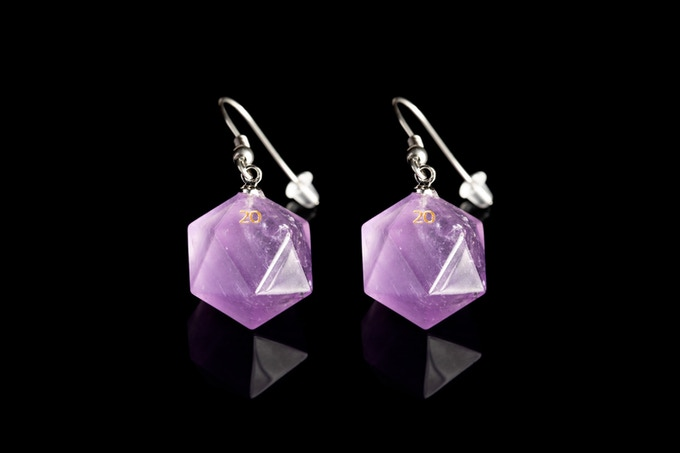 Amethyst D20 Earrings on Stainless Steel Hooks with ear nuts
