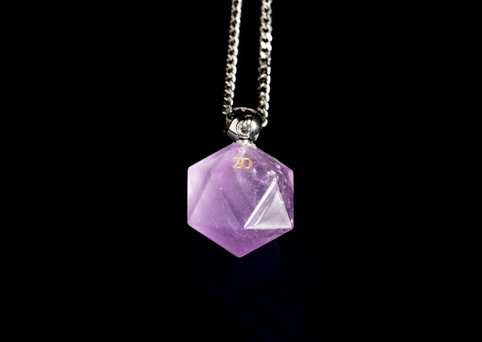 "Amethyst D20 Necklace on 23"" Stainless Steel Chain"