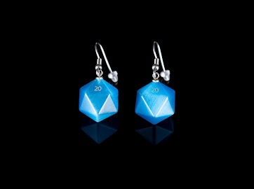 Cats Eye Aquamarine D20 Earrings on Stainless Steel Hooks