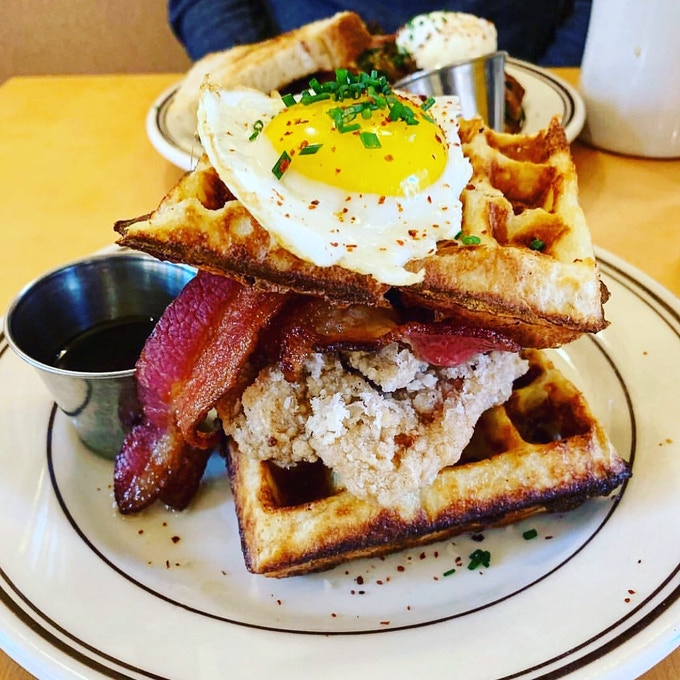 Sourdough waffle, Karrage fried chicken with some brunch in between.