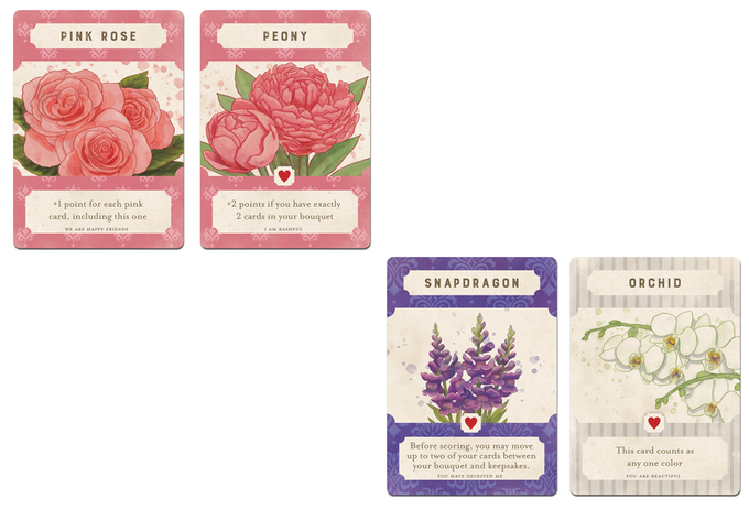 Using the Snapdragon's ability, I was able to move the orchid from my bouquet to my keepsake row.  This gives me two cards in the bouquet and an extra 2 points for the peony.
