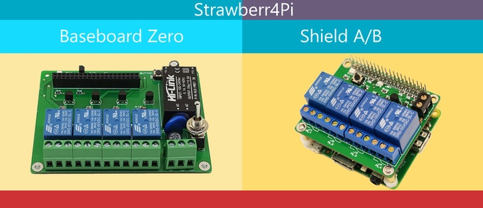 You can find two options of hardware. A baseboard for Raspberry Pi Zero W with power supply included and shield for Raspberry Pi A/B