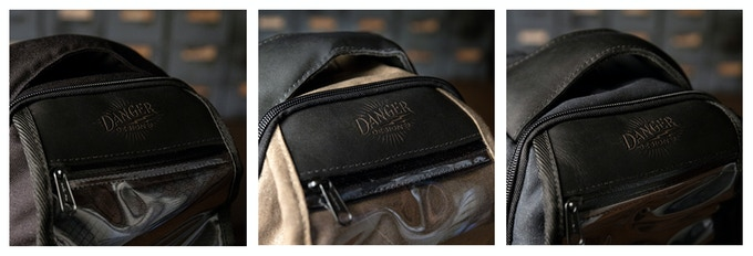 Triple Threat Bag - Detail of DDCo Logo in Leather