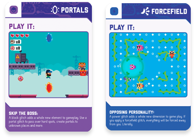 Learn how glitches work with these simple Glitch Cards. Play them as a card game. While you are playing a video game, your friend throws glitch cards down to help or hinder.