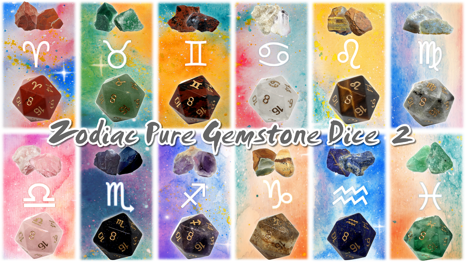 Polyhedral Gemstone dice with Zodiac symbols engraved into them. For collections, dungeons and dragons, board games and tabletop games.
