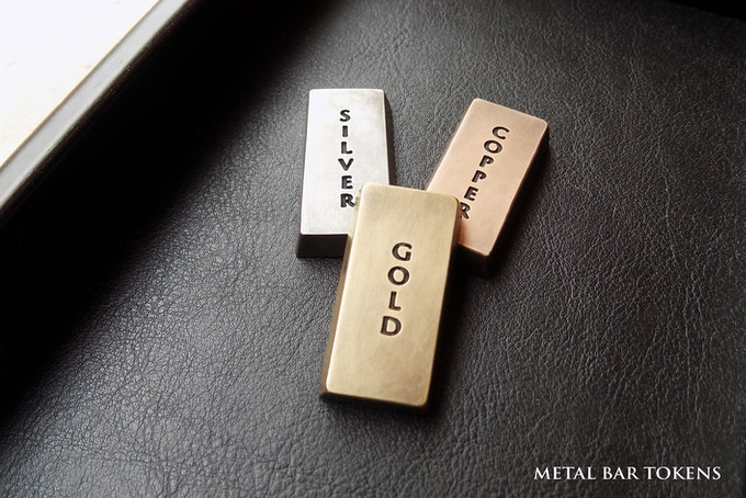 """In your box, you find 3 amazing Metal bar tokens in Gold, Silver, and Copper color - 8.66"""" X 16.14"""" (220X410mm) - Thickness: 0.275"""" (7mm)"""