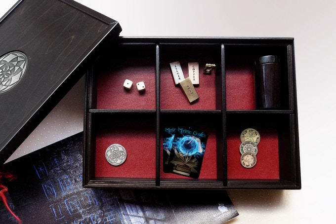 """The Game Master Box. Design: """"Magic Secrets"""" in black wood finish and red leather."""
