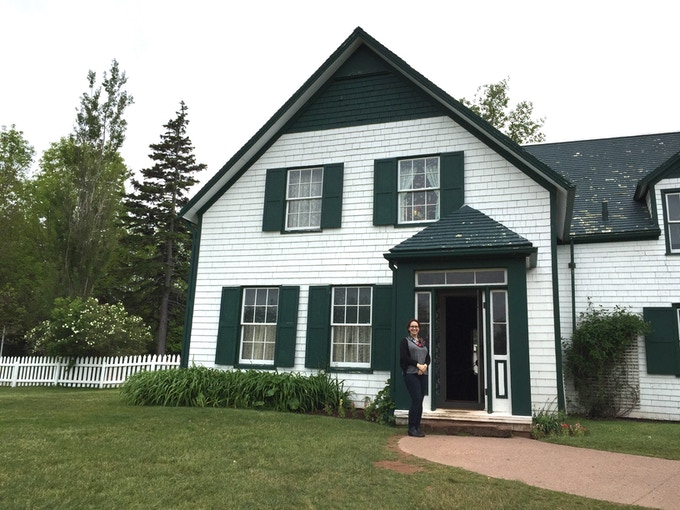 Dr. Emily McEwan fangirling at Green Gables Heritage Place in Prince Edward Island National Park, Cavendish