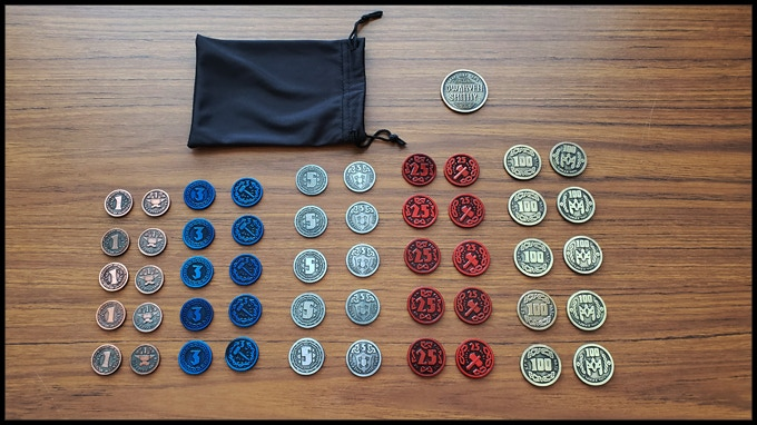 The 50 Metal Coin pledge level with a black silk bag and special collector coin.