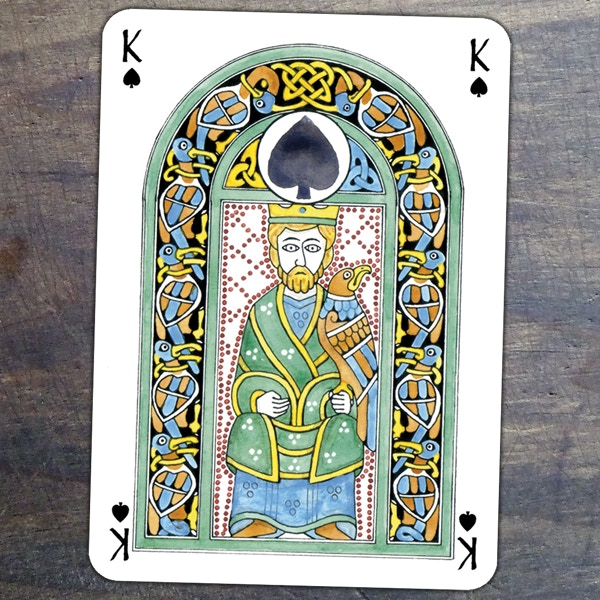 Close-up view of the king of spades design