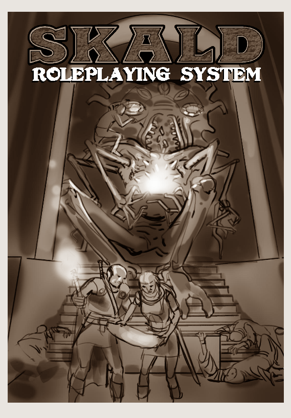 Concept for the manual cover-art! Anyone get the D&D reference?
