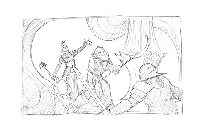 Preliminary sketch of a battle between occupants of the Spider Temple and the characters.