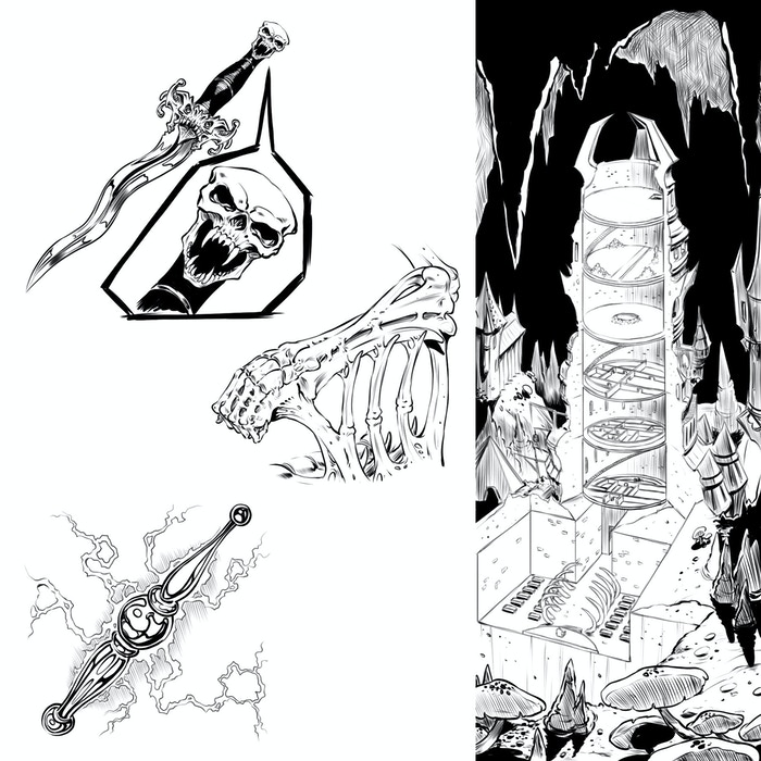 Some magic items in the works (left) / Tolgorith Tower - overview of tower levels for DM reference (right)