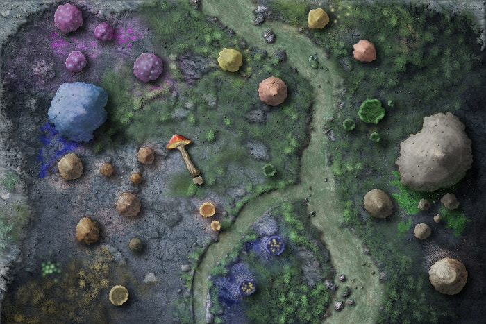 Fungi Forest battlemap by Tommi Salama -- vinyl battlemap #3 to be printed by Gale Force Nine! Note: grid will be added in printing with 5' squares