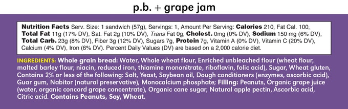 PB+Grape Lunchwich Ingredients and Nutrition Facts