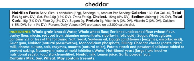 Cheddar Lunchwich Ingredients and Nutrition Facts