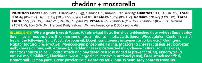 Cheddar Mozzarella Ingredients and Nutrition Facts