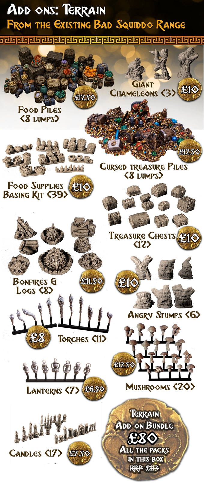 Everything in this terrain section is cast in high quality resin and supplied unpainted. The Bundle Deal contains one of every pack in this section. Amazing!