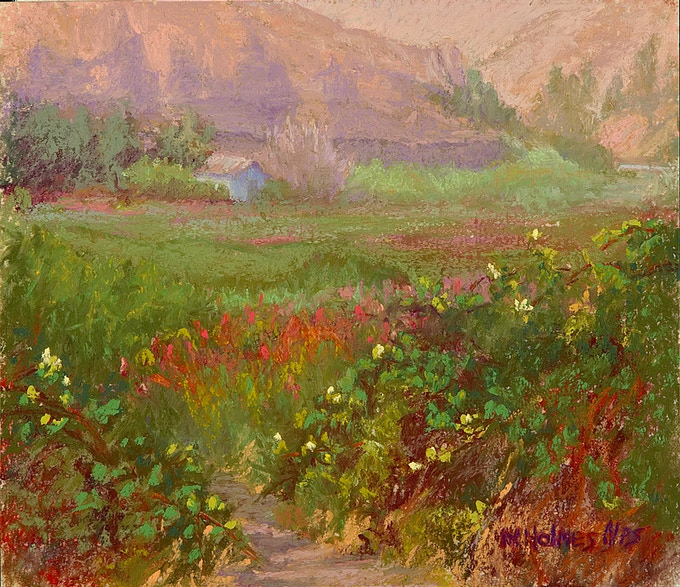 """""""Blackberry Blossoms"""" Original Pastel Painting 7""""X8""""  framed with Museum glass, painted at Borden Beck Wildlife Preserve featured on P. 33 in """"Land Escapes."""""""