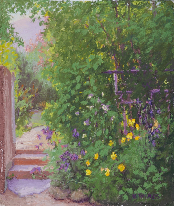 """""""Hollyhock Cottage Garden"""" 10""""X7"""" Original Pastel Painting Framed with Museum glass to 15""""X12"""" featured on P. 161 in """"Land Escapes"""" and 2 signed Books"""