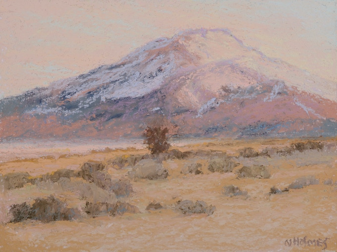 """Sun Setting, Mt. Pueblo 6""""X8""""Original Pastel Painting framed with museum glass to 12""""X14""""featured on P. 120 in """"Land Escapes"""" and 2 signed Books"""