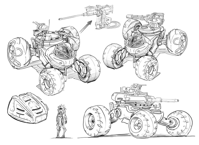 Gun Quad Concept Art (Weapons and heavy turret are placeholders for more alien version)