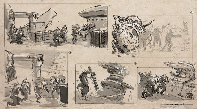 Ikwen Action Concept Sketches by Todd Ulrich