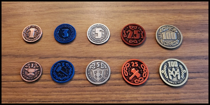 All coins are two-sided with a dwarven theme, range from 22 mm to 30 mm in diameter, and are 2 mm thick!