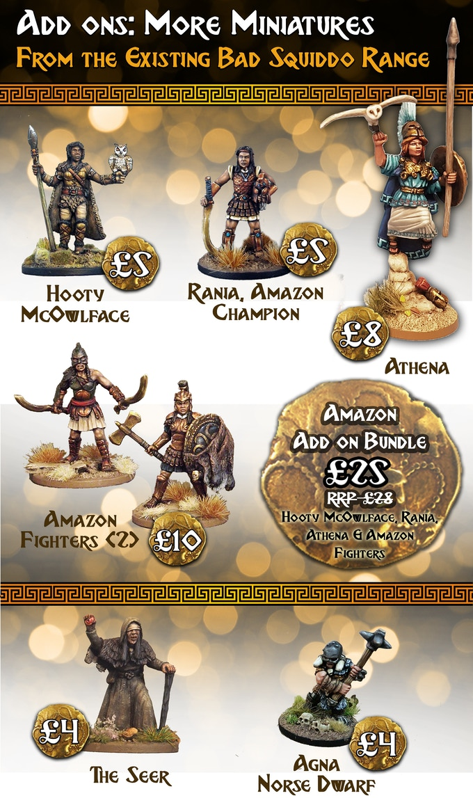 All the miniatures in this section are cast in high quality white metal and supplied unpainted. All are single piece apart from the Amazon Fighters and Athena, who will require assembly.