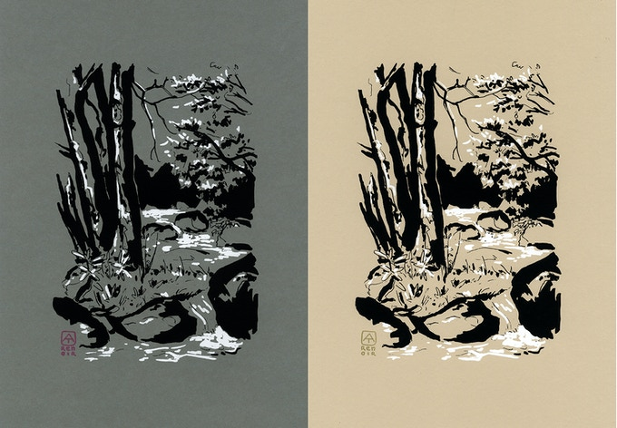 Screen prints of a hand drawing made on paper during the trail