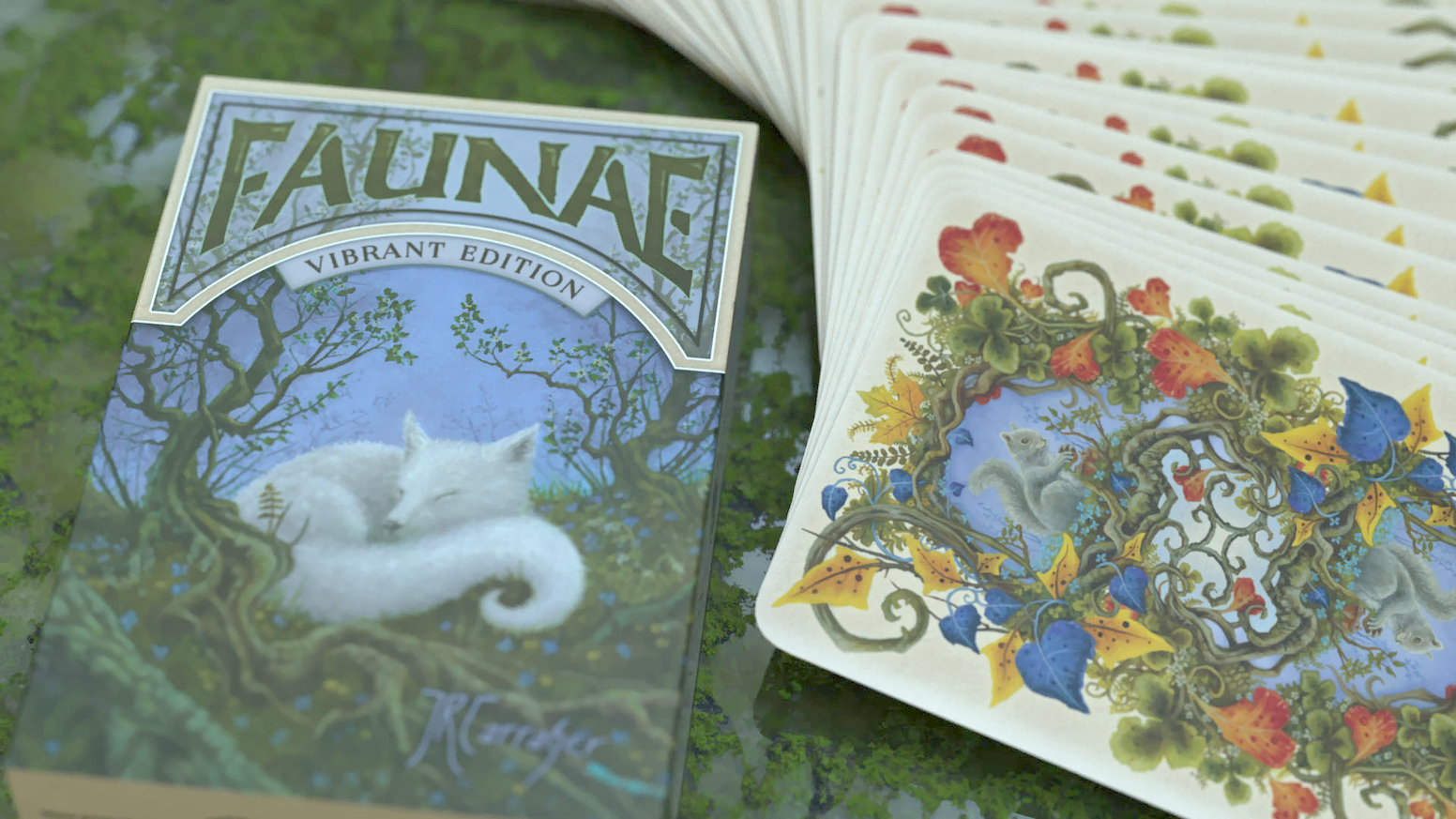 A playing card deck printed by USPCC created with the original fantasy and nature oil paintings of Jon Carraher.