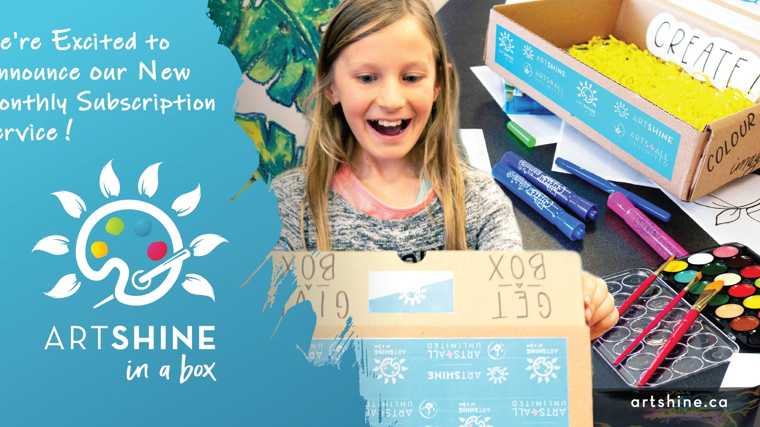 Artshine in a Box is a kids art subscription offered in English and French. We give away a free art lesson for every kit purchased!