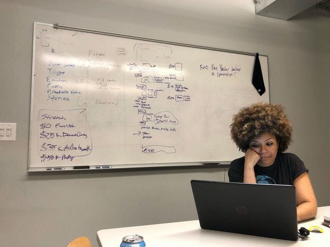 Ytasha being a good sport during late night work session planning this campaign!