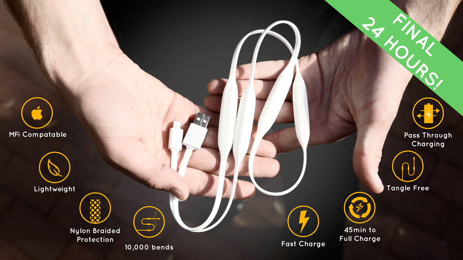 The Portal Cord redefines portable power by storing power within the cord to charge your device outlet free!