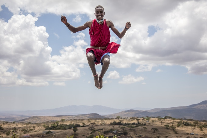 Love is in the air! Supeyo, shows off his Maasai jumping skills. Photo: Georgina Goodwin