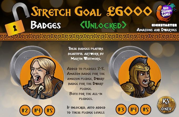 UNLOCKED: Pledge Level #2 will automatically receive the Dwarf badge, Pledge Level #3 will automatically receive the Amazon badge, while levels #4 and #5 will get both.