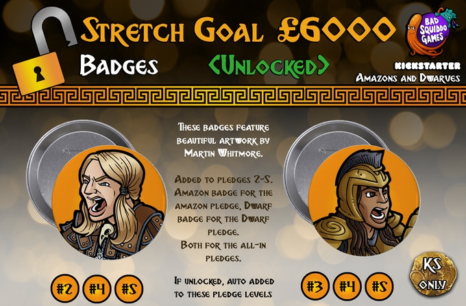 UNLOCKED: Pledge Level #2 will automatically receive the Dwarf badge, Pledge Level #3 will automatically receive the Amazon badge, while levels #4 and #5 will get both.