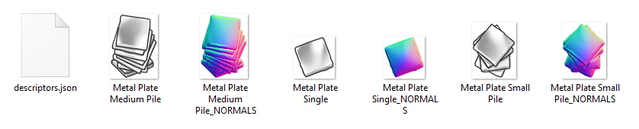 The sprites for metal plates alongside their JSON descriptor