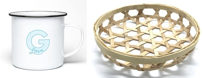 Enamel Mug (left) Bread Basket (right)