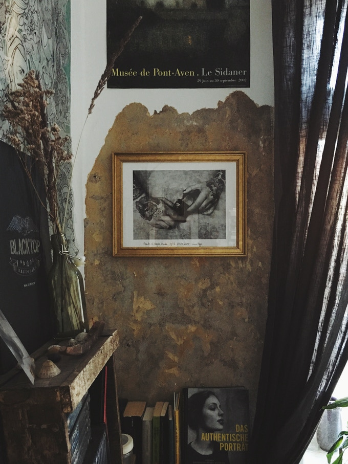 Limited 30x40 photograph of 'Hands of Magda Hanke' hanging in her home in Hamburg