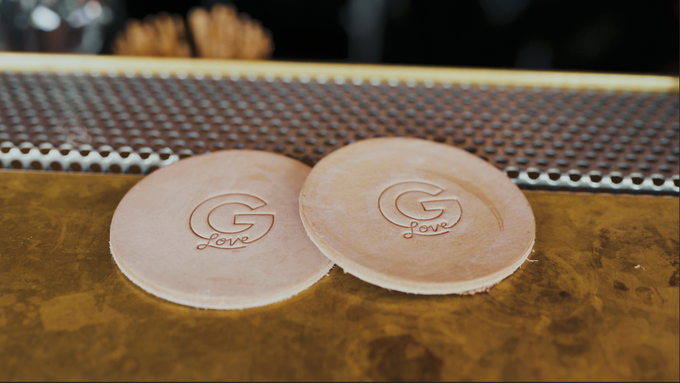 Natural Leather Coasters, $20